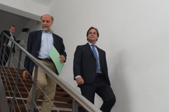 Pablo Mieres y Luis Lacalle Pou. Foto: Leonardo Mainé.