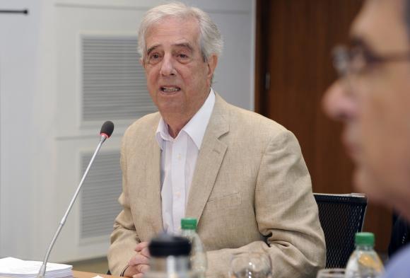 Tabaré Vázquez en su último consejo de ministros. Foto: Presidencia