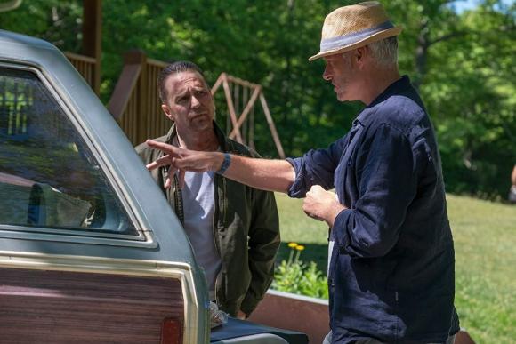 """Martin McDonagh y Sam Rockwell en la filmación de """"Tres anuncios por un crimen"""". Foto: Difusión"""