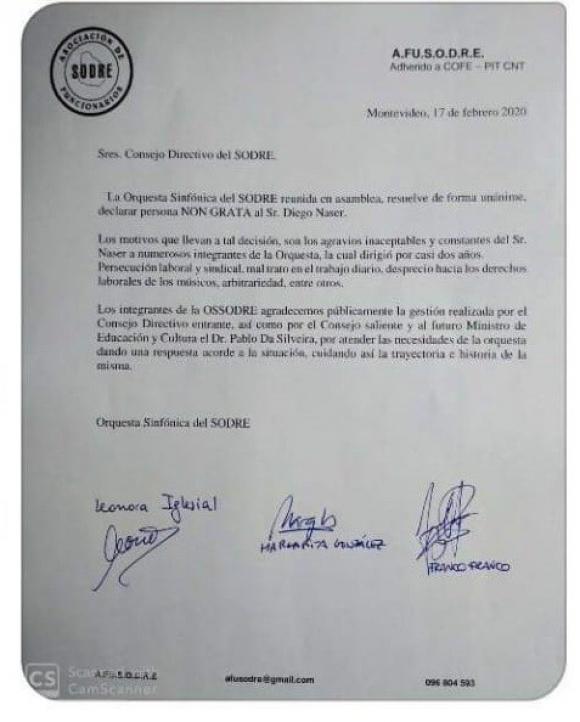 "Carta AFUSODRE declarando ""persona non grata"" a Diego Naser. Foto: Difusión"