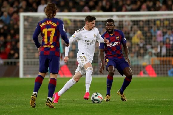 Federico Valverde en el clásico Barcelona vs. Real Madrid