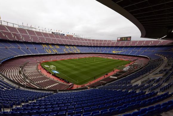 El Camp Nou a puertas cerradas en un Barcelona-Las Palmas en 2017. Foto: Reuters.