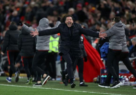 Diego Simeone disfruta del triunfo del Atlético de Madrid ante Liverpool. Foto: Reuters.