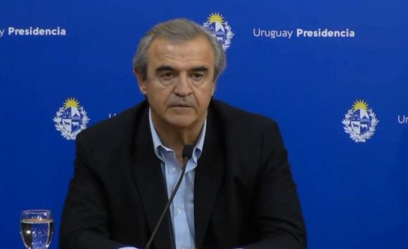 Ministro Jorge Larrañaga, este martes de noche en conferencia de prensa. Foto: @compresidencia