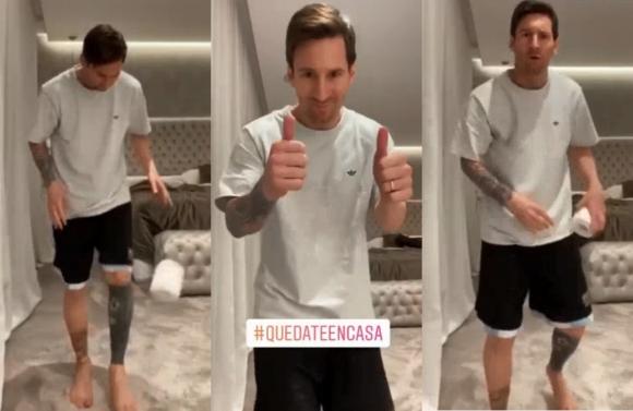 Lionel Messi en el challenge del papel higiénico.