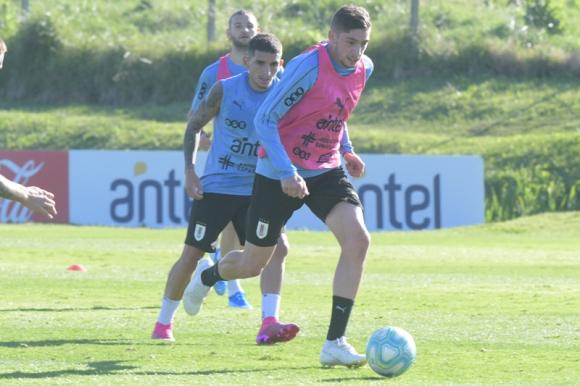 Federico Valverde y Lucas Torreira entrenando en el Complejo Celeste. Foto: Darwin Borrelli.