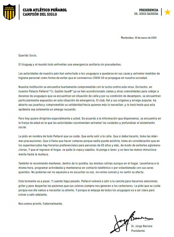 La carta de Jorge Barrera a los socios de Peñarol.