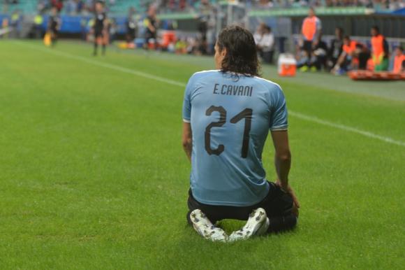 Edinson Cavani con la camiseta de la selección uruguaya. Foto: Gerardo Pérez