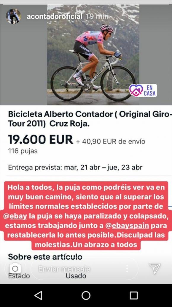 La subasta de Contador hizo colapsar Ebay. Foto: Captura