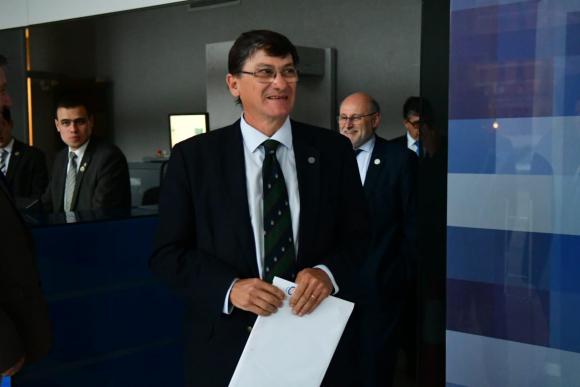 Gerardo García Pintos, este lunes de tarde en conferencia de prensa en Torre Ejecutiva. Foto: Francisco Flores
