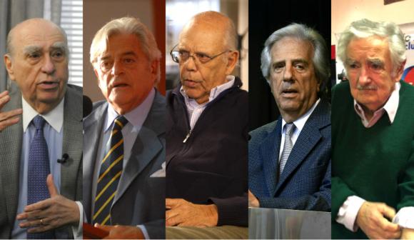 Sanguinetti, Lacalle, Batlle, Vázquez y Mujica. Foto: Archivo El País