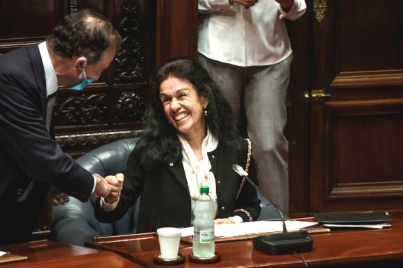 Rosina Piñeyro, madre de Juan Sartori, este martes en el Senado Foto: Prensa Juan Sartori