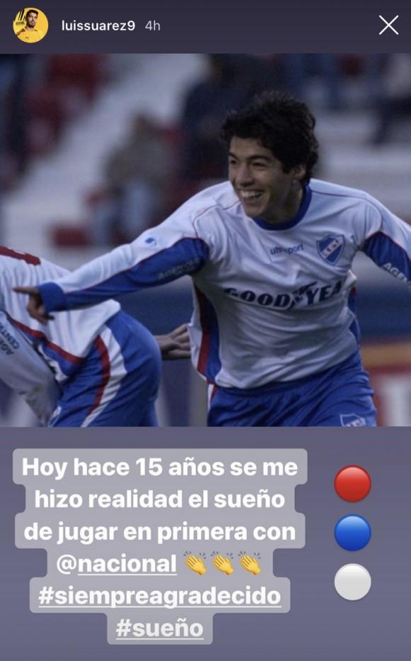 Luis Suárez recordó en Instagram el debut con Nacional. Foto: Captura.