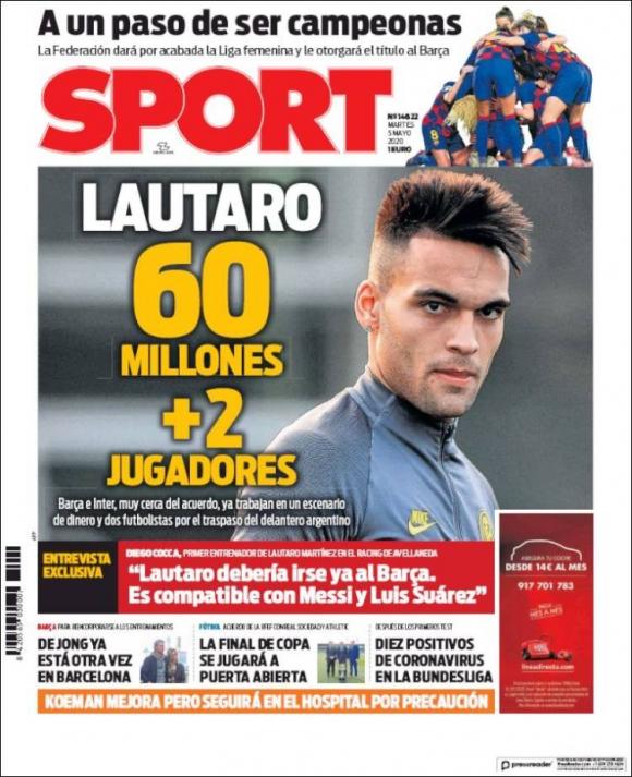 La portada de diario Sport con la oferta del Barcelona al Inter. Foto: Captura.