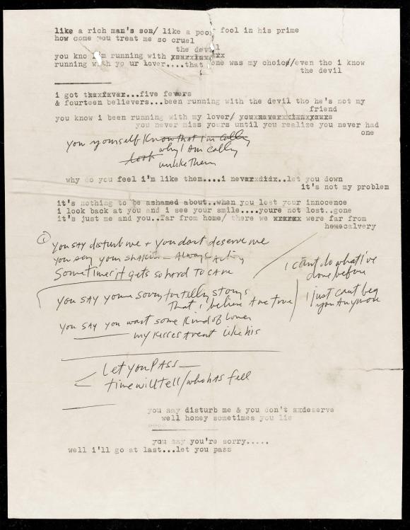 Manuscrito de Bob Dylan de 1966. Foto: Reuters.