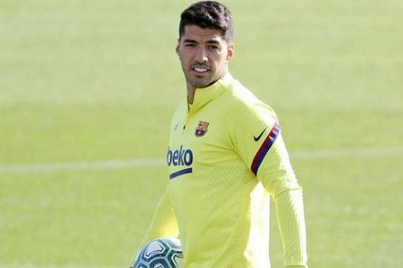 Luis Suárez en el regreso de los entrenamientos con Barcelona.
