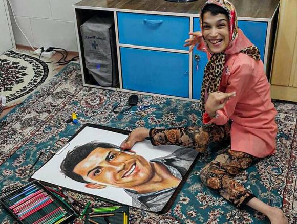 El retrato de Fateme Hamami a Cristiano Ronaldo. Foto: @fatemehamami