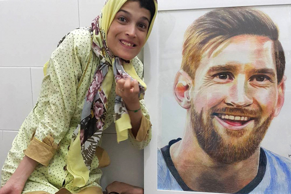 El retrato de Fateme Hamami a Lionel Messi. Foto: @fatemehamami