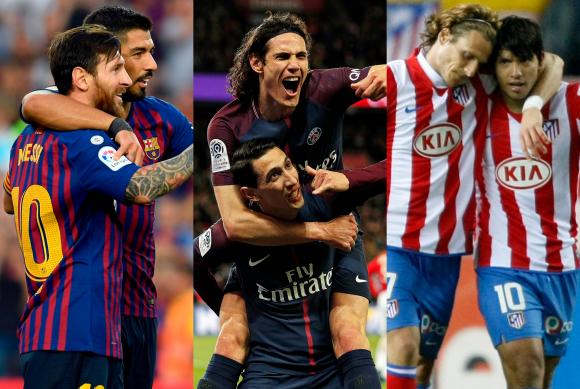 Luis Suárez, Edinson Cavani y Diego Forlán junto a Messi, Di María y Agüero. Fotos: Archivo.