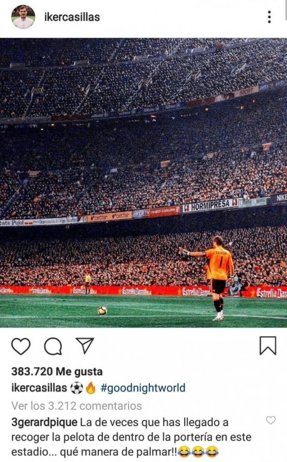 La broma de Piqué a Casillas en Instagram. Foto: Captura.