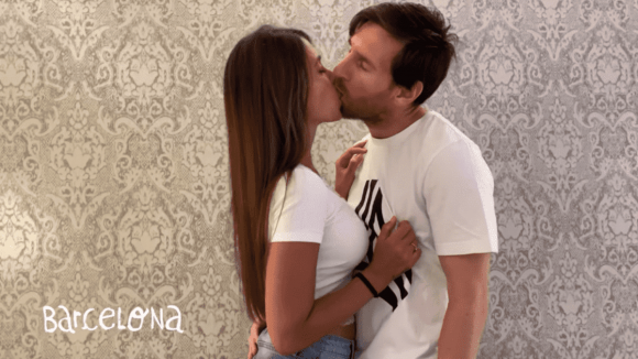 Lionel Messi y Antonella Roccuzzo. Foto: Captura.