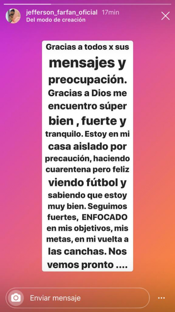 La historia en Instagram de Farfán tras dar positivo de Coronavirus. Foto: Captura