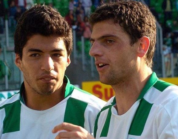 Luis Suárez y Bruno Silva en el Groningen. Foto: @fcgroningen