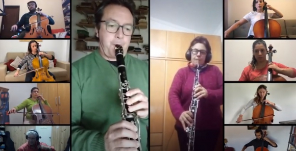 La Banda Sinfónica de Montevideo hace música a distancia. Foto: Captura de YouTube