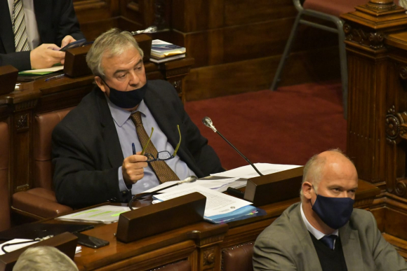 Luis Alberto Heber, ministro de Transporte, este miércoles en la Cámara de Representantes. Foto: Leonardo Mainé