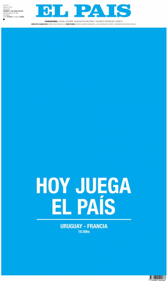 La tapa del diario El País alusiva al debut celeste el 10 de junio de 2010.