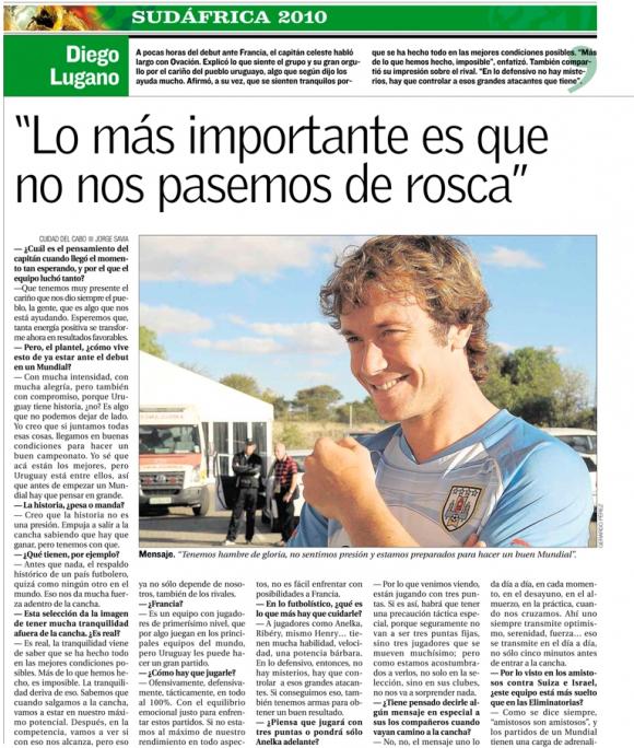 Entrevista a Diego Lugano publicada el 11 de junio de 2010. Foto: El País.
