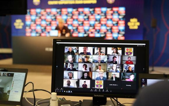 La conferencia de prensa de Quique Setién. Foto: Barcelona.
