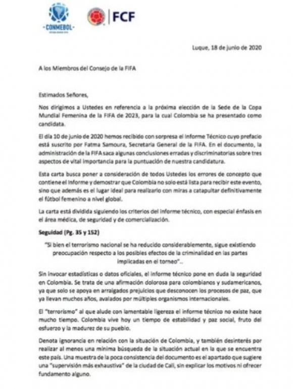 Respuesta de Conmebol a FIFA