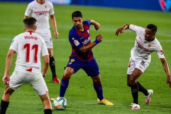Luis Suárez en el duelo entre Barcelona y Sevilla. Foto: @FCBarcelona.