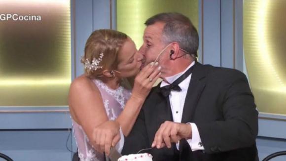 """Carina Zampini y Christian Petersen en """"El gran premio de la cocina"""". Foto: Captura"""