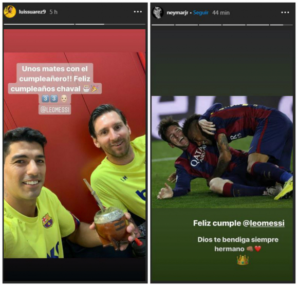 Los saludos de Suárez y Neymar en el cumpleaños de Messi. Fotos: Captura