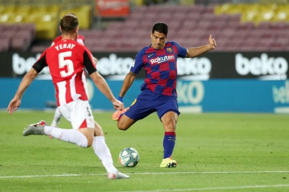 Luis Suárez en el partido ante el Athletic de Bilbao