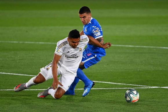 Mauro Arambarri en el duelo entre Getafe y Real Madrid. Foto: AFP.