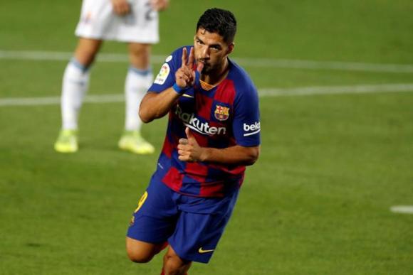 Luis Suárez celebra su gol ante Espanyol. Foto: EFE.