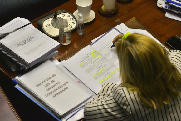 El proyecto de ley de urgente consideración fue sancionado ayer al mediodía por 18 votos en 30 y ahora será promulgado. Foto: Leonardo Mainé