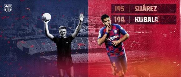 Suárez dejó atrás a Kubala en la historia del Barcelona