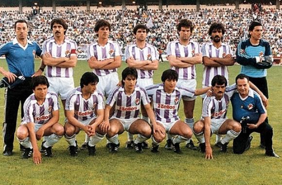Jorge da Silva, el tercero abajo, con la camiseta del Valladolid. Foto: Archivo.