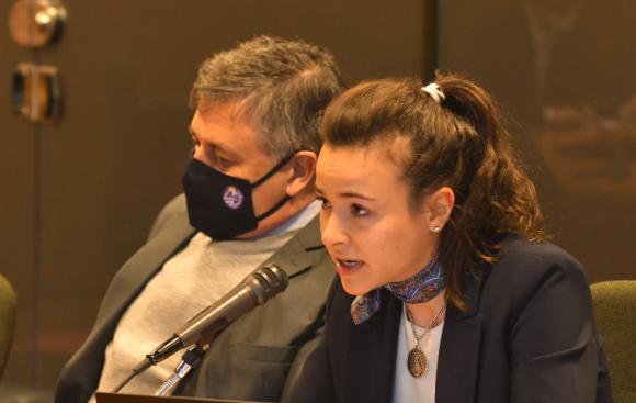 Mercedes Aramendía concurrió ayer al Parlamento para informar a la Comisión de Industria de diputados. Foto: Leonardo Mainé