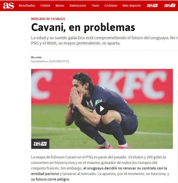 """""""Cavani, en problemas"""", titula el diario deportivo español As."""