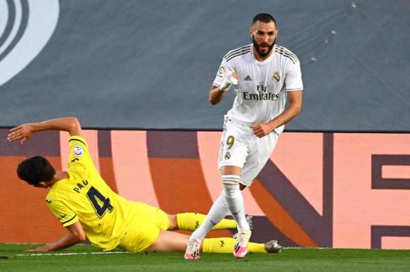 Benzema celebra su gol ante Villarreal. Foto: AFP