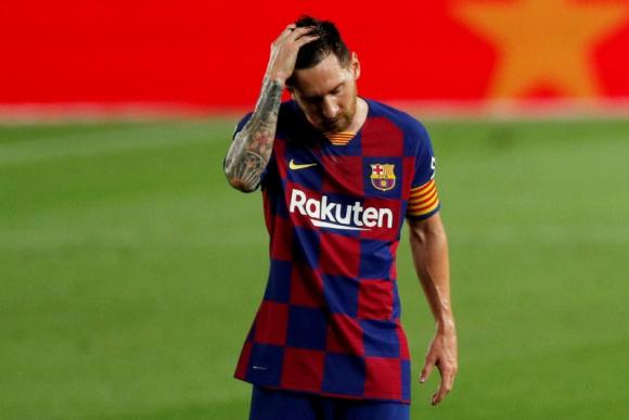 El lamento de Lionel Messi en el duelo entre Barcelona y Osasuna. Foto: Reuters.