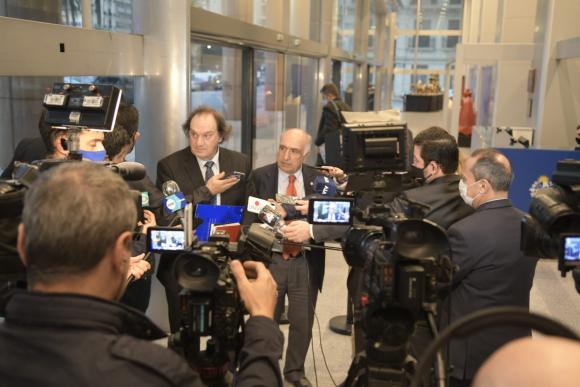 Eduardo Lust y Guillermo Domenech en rueda de prensa. Foto: Gerardo Pérez.