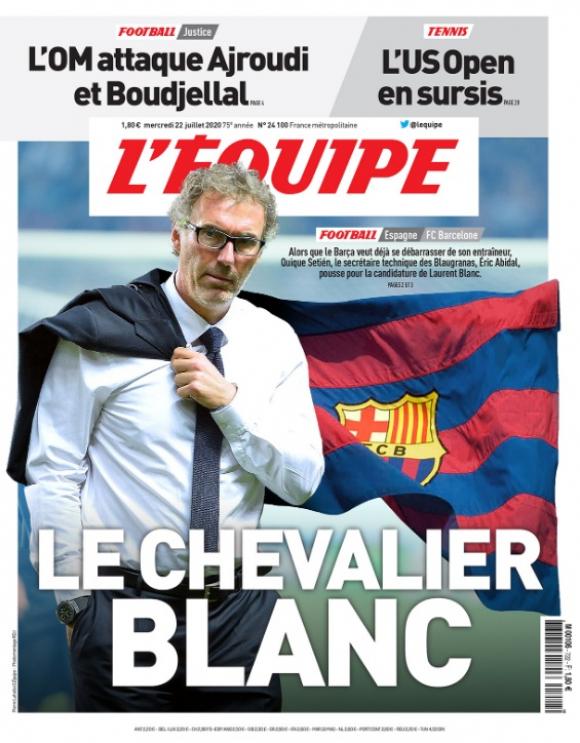 La tapa de L'Equipe con Laurent Blanc pretendido por Barcelona. Foto: Captura.