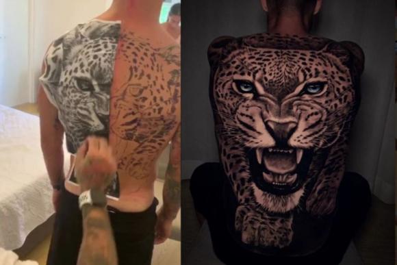 El imponente tatuaje de un leopardo en la espalda de Matteo Politano