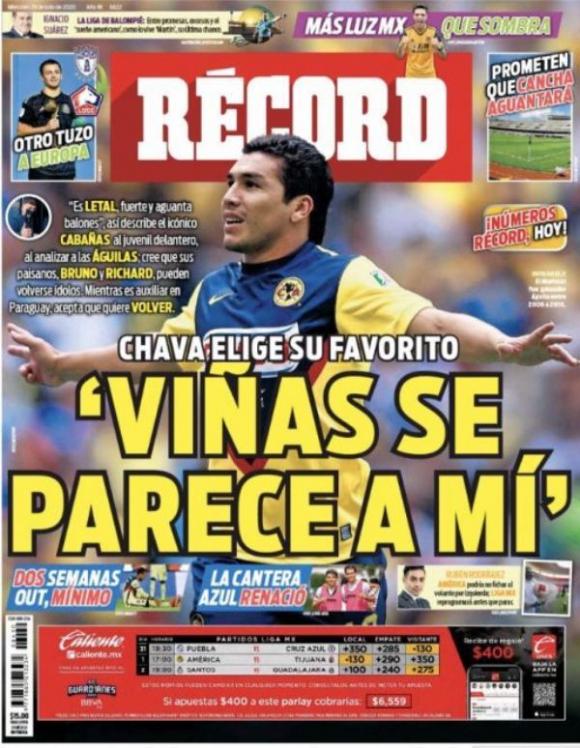 La portada del diario deportivo Récord de México